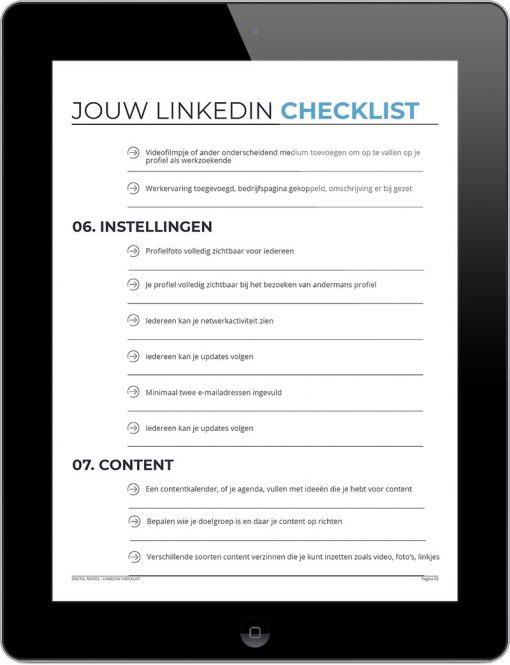 Corinne Keijzer - Digital Moves - LinkedIn checklist - September 2018